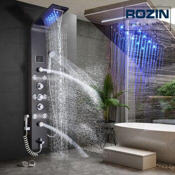 Luz led torneira do chuveiro do banheiro cachoeira chuva painel de chuveiro preto na parede sistema com spa massagem pulverizador e bidé