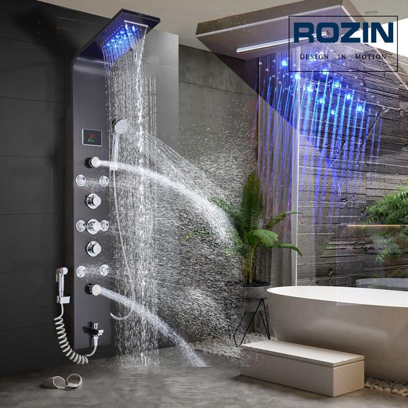 Robinet de douche lumineux LED cascade pluie noir panneau de douche dans le mur système de douche avec Spa Massage pulvérisateur Bidet tête douchette