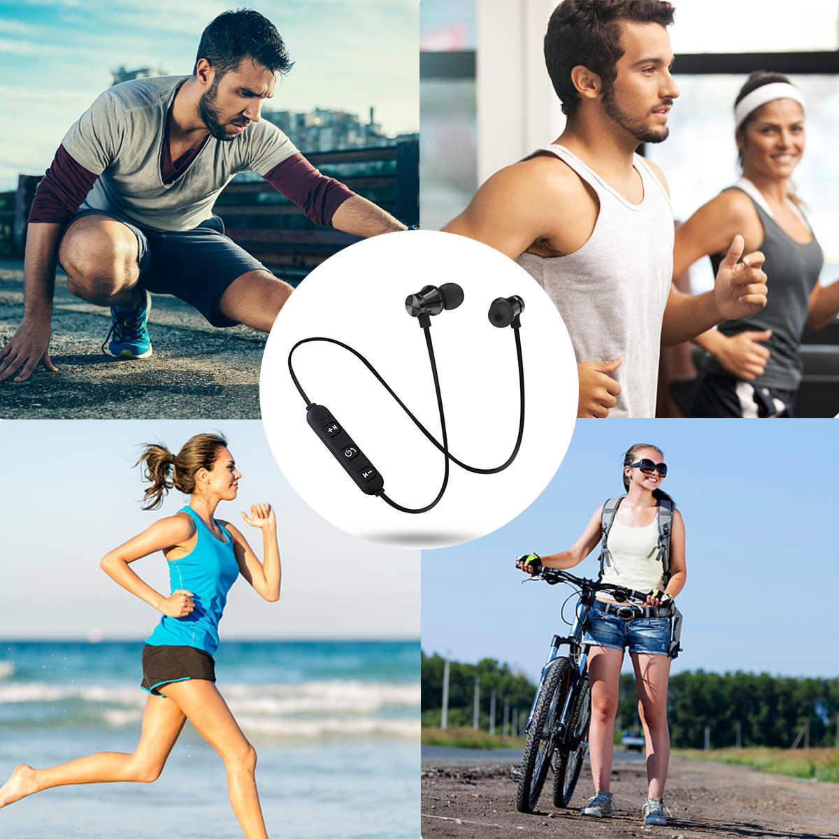 S8 Wireless Bluetooth Earphone Magnetic Headphones Sports Stereo Bass Music Earpieces Earplug Wireless Headset with Microphone