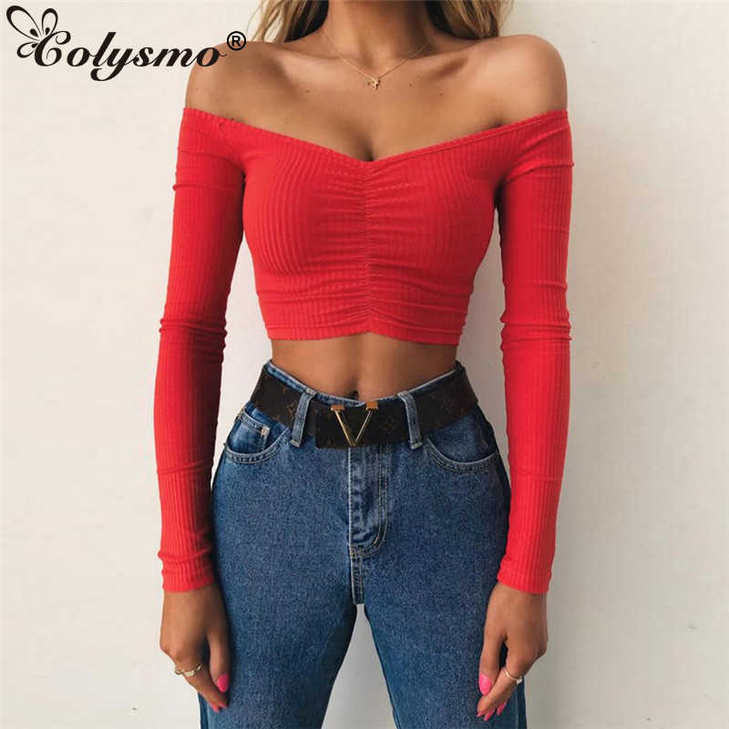 84ac853842c Colysmo Sexy Off Shoulder T Shirt Women Vintage Crop Top Long Sleeve Shirt  Women Spring Ruched