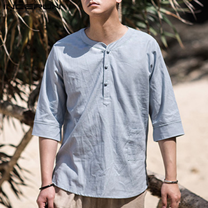 Casual Shirts Industrious Incerun Chinese Style Men Shirt Half Sleeve Button Solid Tops Streetwear Loose Vintage Camisa Casual Shirts Men Clothes 2019 5xl