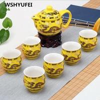 Jingdezhen 7pcs Tea Set Blue And White Porcelain Double Wall Cup Creative Flower Dragon Moutain Teapot Kung Fu Tea Set Teaware