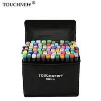 Маркеры touchnew ручка комплект 40/60/80/168 Цвет анимация маркер для рисования с двумя головками Рисование ручки-щетки на спиртовой основе с 6 подар...