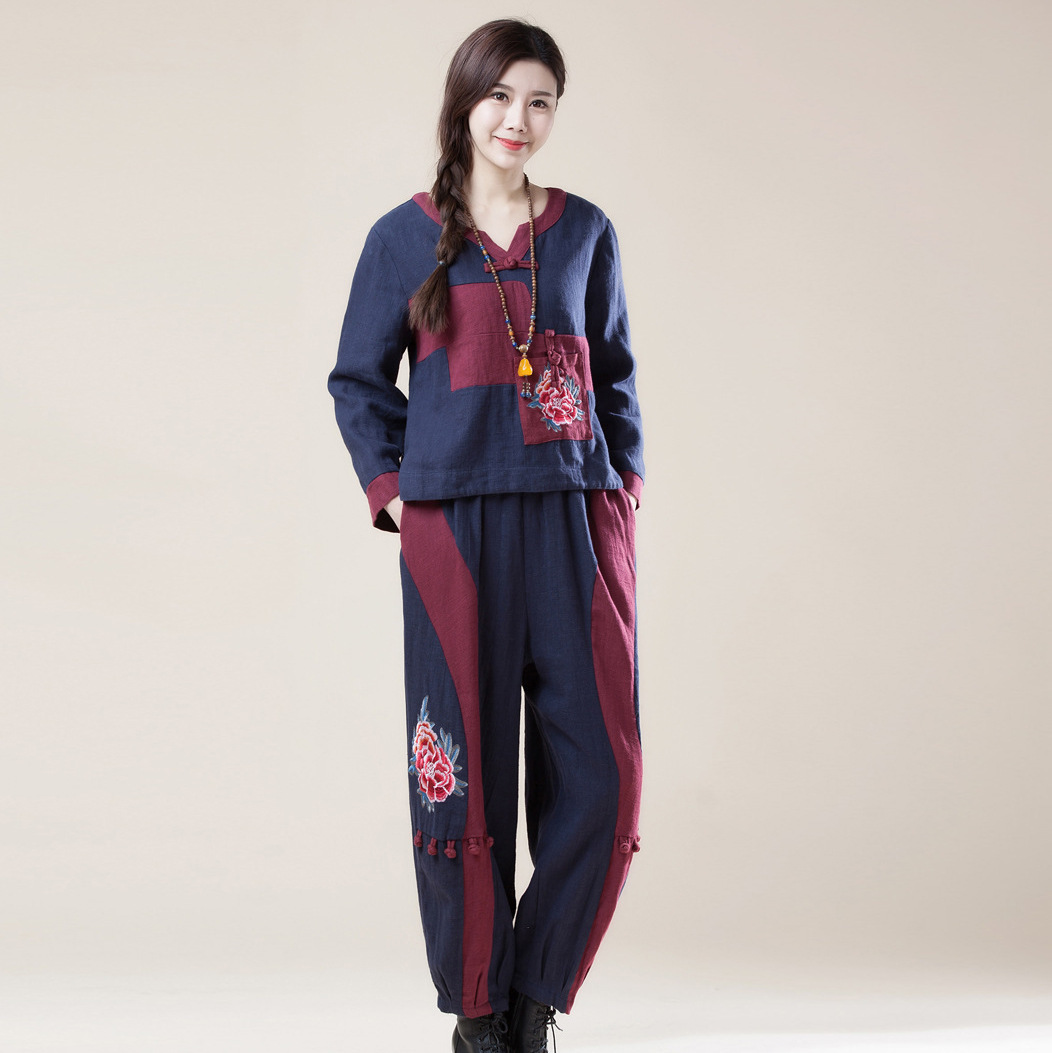 Cotton And Linen blends Suit Chinese style Twinset Embroidered Buckle decoration splicing oversize trousers and coat suit women in Women 39 s Sets from Women 39 s Clothing