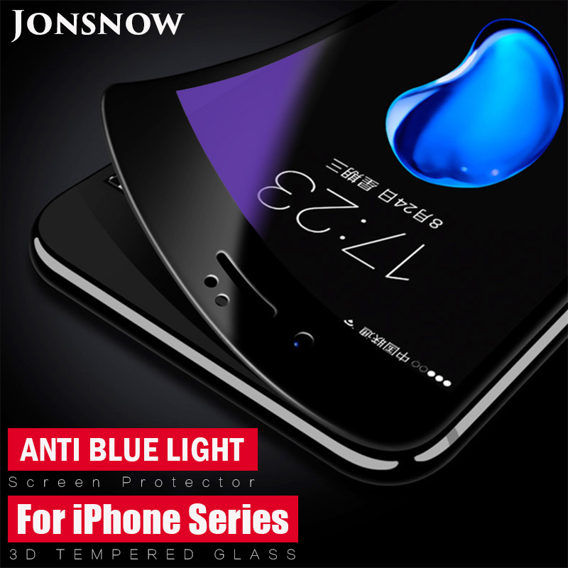 3D Tempered Glass for iPhone 6S 7 8 Plus XS XR Anti Blue Light Screen Protector Full Screen Soft Edge for iPhone 11 11Pro Max image