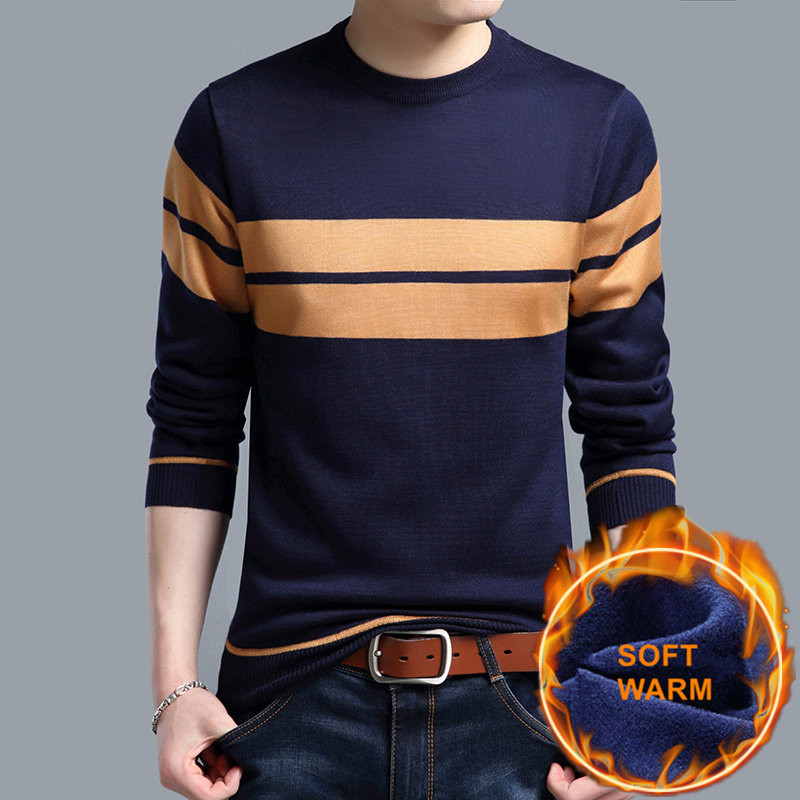 Thick Warm Cotton Liner O-Neck Pull Homme Christmas Sweater Men Winter Wool Mens Sweaters 2019 Explosive Casual Pullover