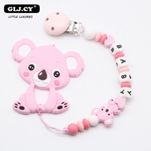 Personalized Name DIY Baby toys Dummy Clip Nipples Holder Cute Pacifier Clips Chains Teething Koala baby toys 0-12 months