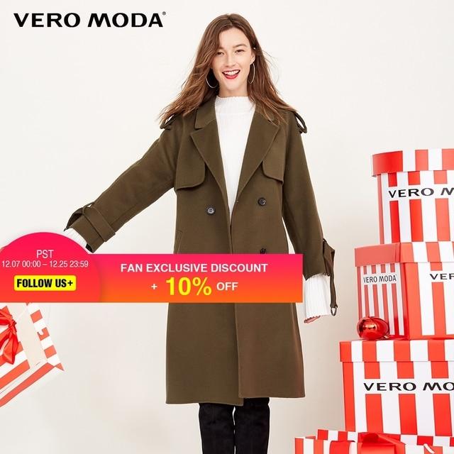 Vero Moda British Style Double-breasted Wool Coat |317327536