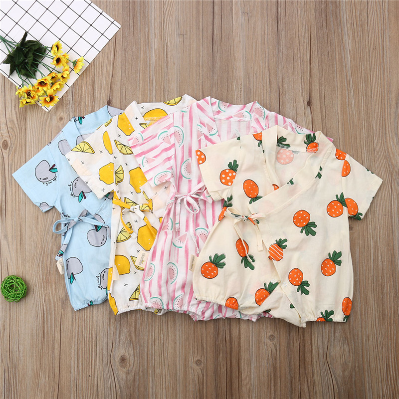 Summer Newborn Infant Baby Boys Girls Fruit Print   Romper   Jumpsuit Short Sleeve Belt Playsuit Outfits Cute Clothes 0 to 24M