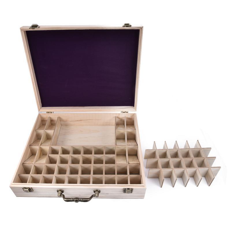 Boîte de stockage de bouteille d'huile essentielle en bois de 64 fentes boîte de rangement de bijoux de récipient d'aromathérapie portative avec le support en bois de poignée