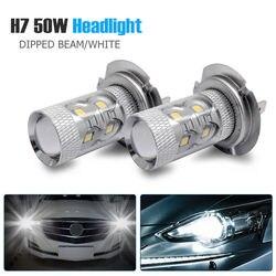 2pcs 50W H7 Super Branco Lâmpada Principal do Feixe de Cruzamento 499 LED Car Lâmpadas Dos Faróis Foglights