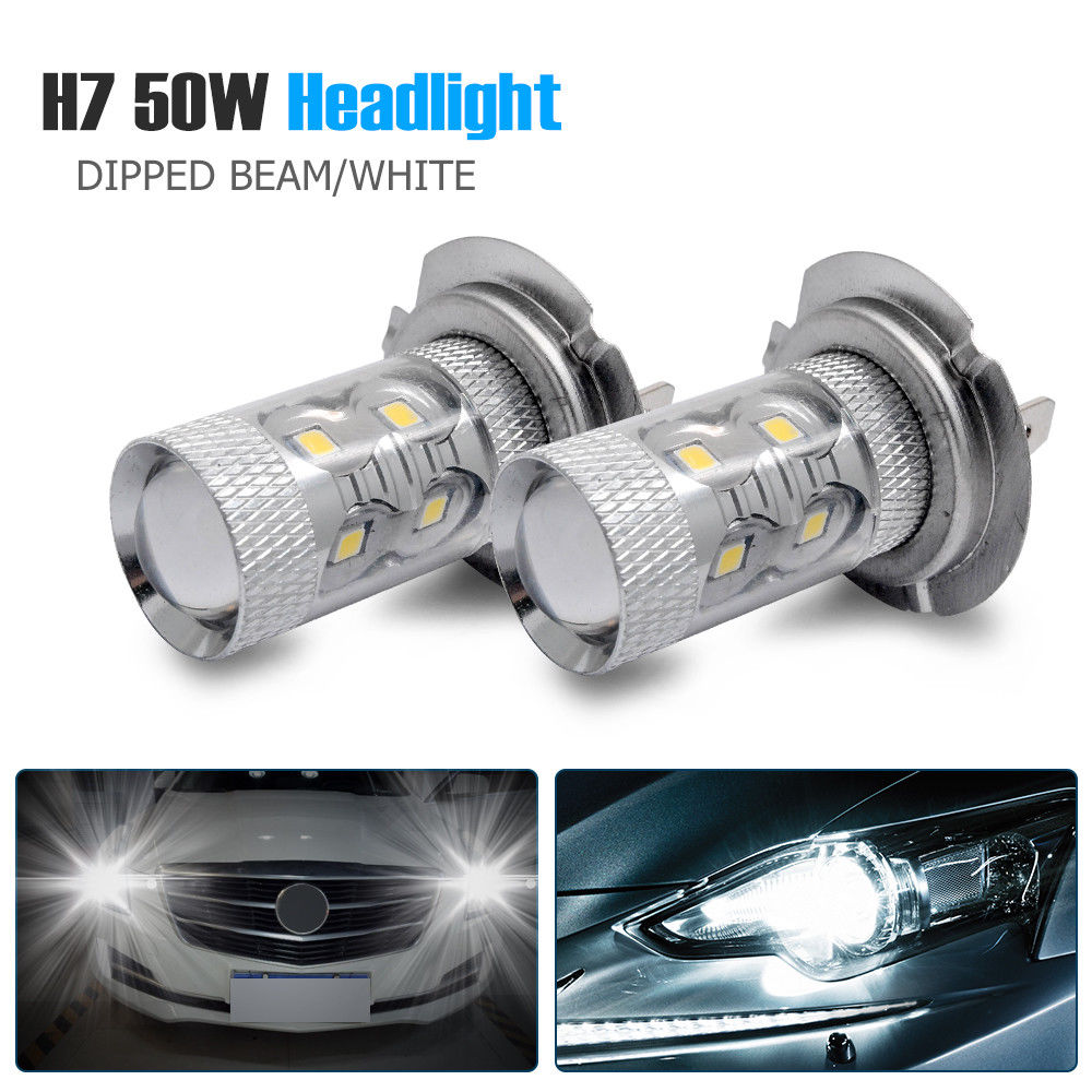 2pcs 50W H7 Super White Main Dipped Beam 499 LED Car Headlight Bulbs Lamp Foglights