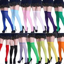 1Pair Autumn Women Girls Over Knee Sock Solid Color Thigh High Stocking Black Sexy Slim Party Costume Socks