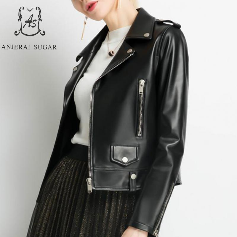 Autumn Winter Sheepskin Genuine Leather Jacket Women Black -5491
