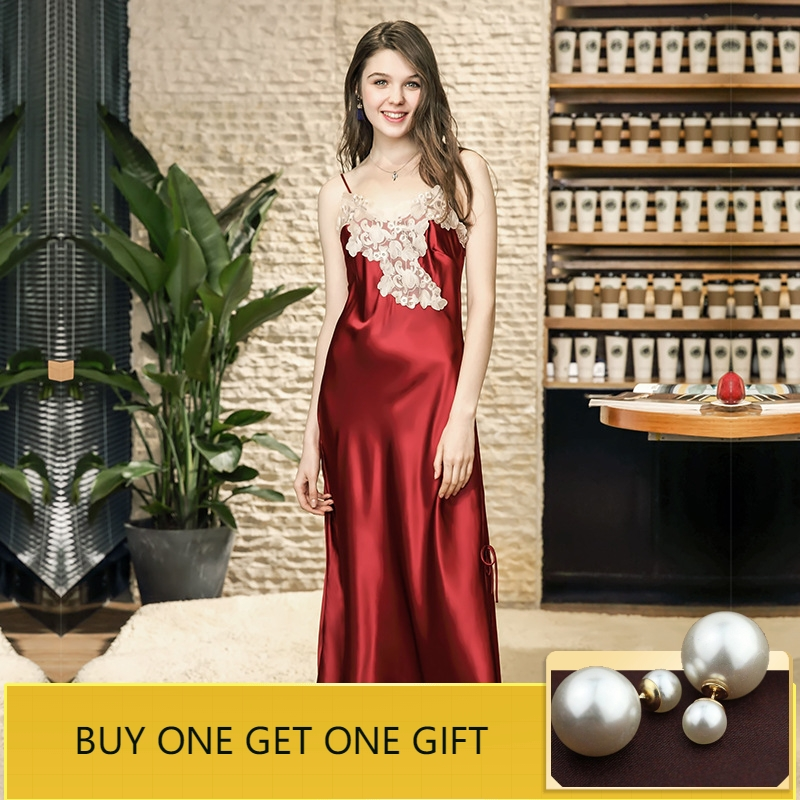 Sleep Lounge Sexy Lace Women   Nightgowns   &   Sleepshirts   Elegant Satin Sleepwear Split Chemise Silk Night Dress Indoor Clothing
