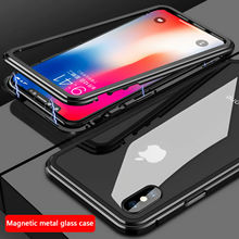cell phone 360 armor shockproof cover tempered Glass magnetic Adsorption for iphone 6 6s