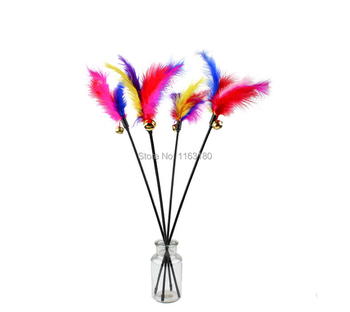 120pcs/lot Cat Toys Kitten Pet Cat Teaser Turkey Feather Interactive Scratching Stick Toy Cat Supplies Fun Toys Products for Cat