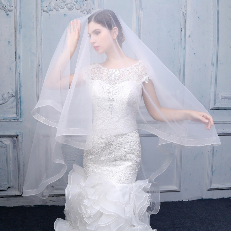 0b0466dfdf Ivory Tulle Cathedral Veil Wedding Bridal One Layer Long Veils without Comb  Bride Photography Vail Hair