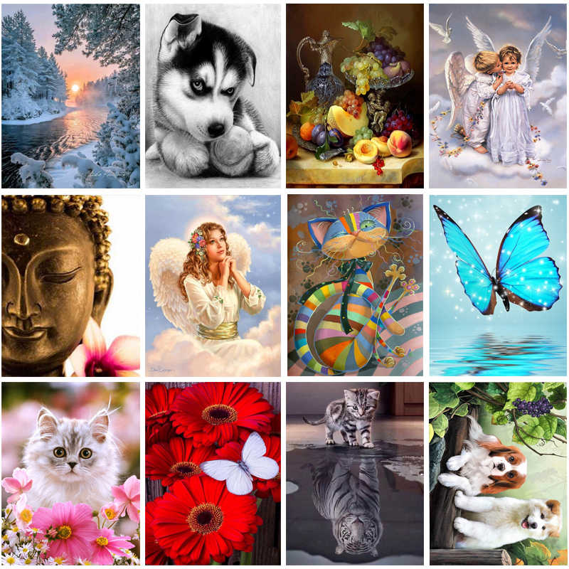 wholesale 5D Diy Diamond painting cross stitch embroidery round diamond mosaic pattern picture kits wall sticker home decor gift