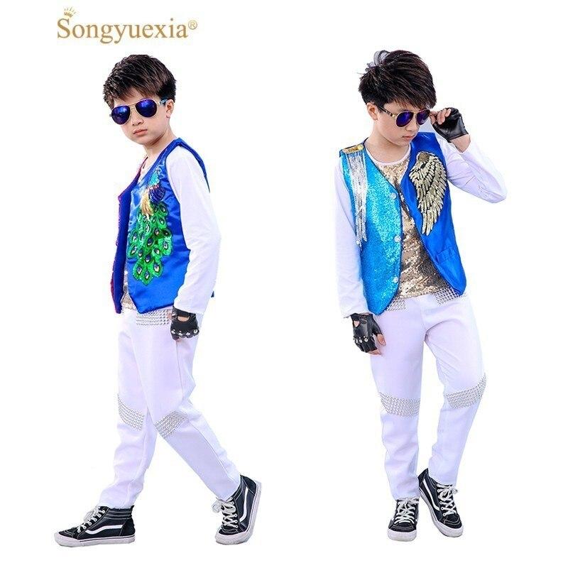 Songyuexia enfants modèle spectacle vêtements danse Paillette garçon Jazz gland hip-hop Costumes de danse