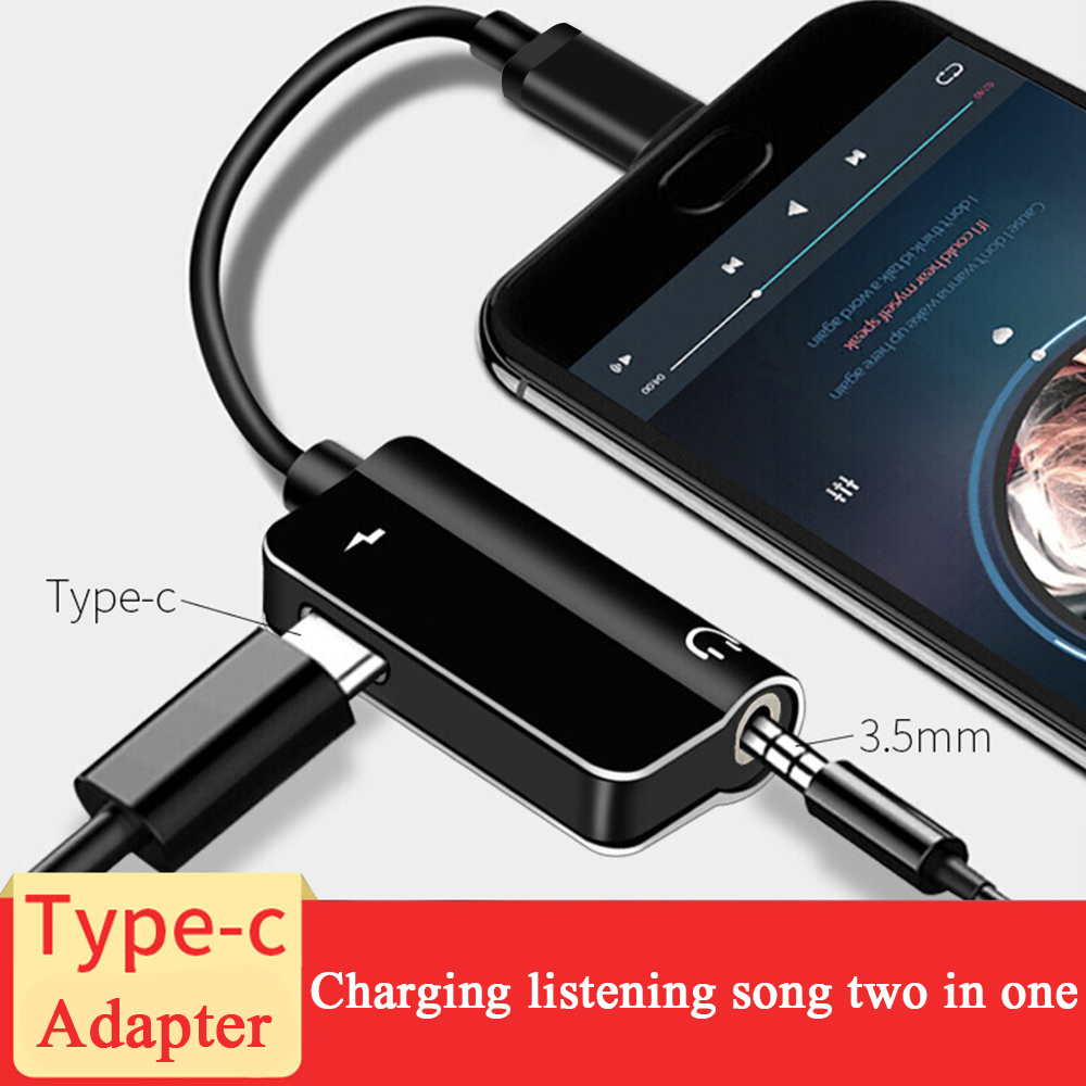 2 In 1 USB Type C Adapter To 3.5mm Headphone Aux Jack + Charging Supports Charging And Audio USB Tupe-C For Huawei P20 Lite Mi8