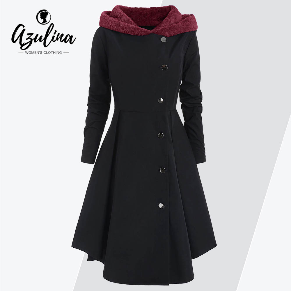AZULINA Plus Size Asymmetric Fleece Contrast Hooded Skirted Coat Women Winter Coats Single Breasted Color Block Outerwear Tops
