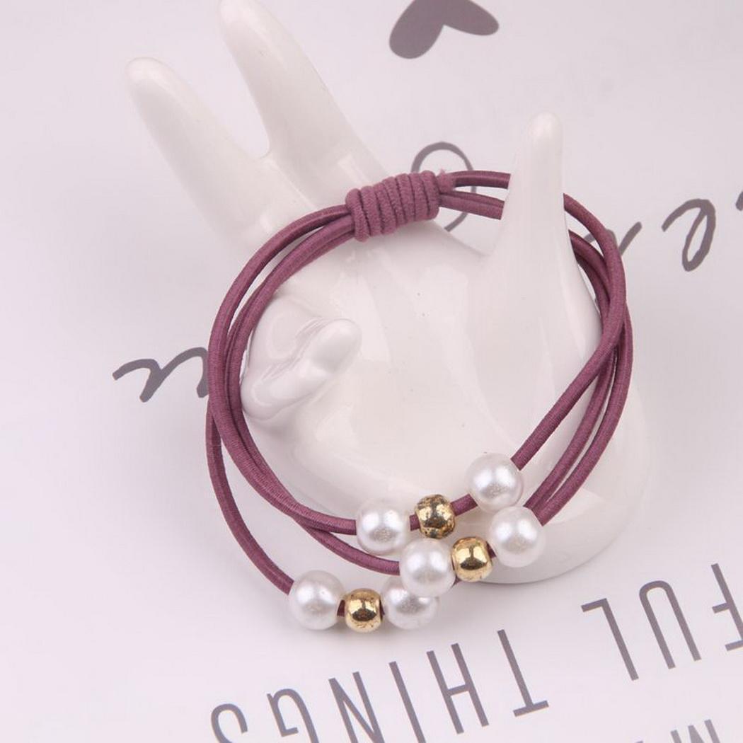 RüCksichtsvoll Seil Solide Perle Haar Mädchen Casual Gummi Elastische Bands Ring Haar Mann Band Handtuch Made Fashion Zubehör