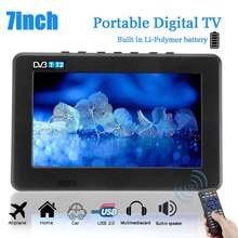 1080 P HD TV 7 Zoll Digital Fernsehen Tragbare TFT LED DVB-T2 12 V Player MP4 MP3 USB 2.0 AC/ DC(China)