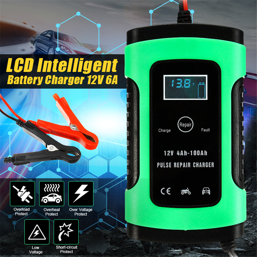 12V 5A Auto <font><b>Car</b></font> Intelligent <font><b>Battery</b></font> <font><b>Charger</b></font> <font><b>Jump</b></font> <font><b>Starter</b></font> LCD Intelligent 100-240V 100AH Pulses Repair Type image