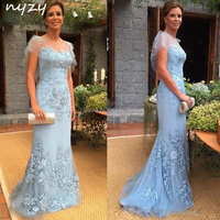 NYZY M26 Mother of Groom Dresses Blue Elegant 2019 Lace Short Sleeve Bride Mother Evening Gowns Wedding Party Guest Formal Dress