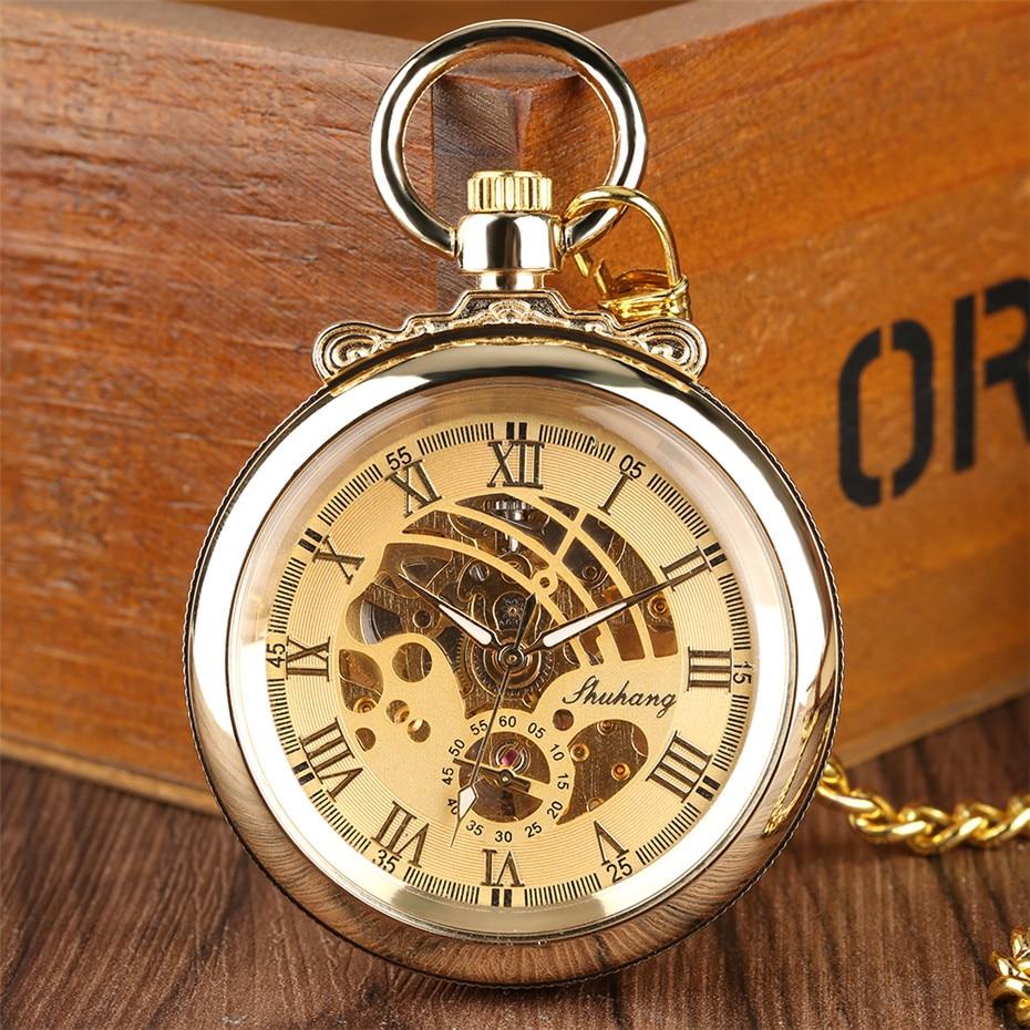 Роскошные Механические карманные часы с золотыми римскими цифрами, с открытым циферблатом, карманные часы, подарки для мужчин и женщин, выс