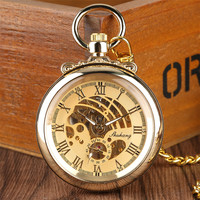 Luxury Mechanical Pocket Watch Gold Roman Numerals Open Face Display Pocket Clock Gifts for Men Women High Quality Hand Wind