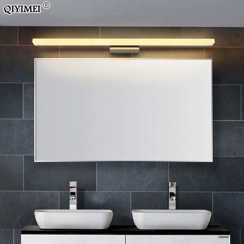 Image 2 - led mirror light stainless steel AC85 265V Modern Wall lamp bathroom lights 40cm 60cm 80cm 100cm 120cm wall sconces apliques-in LED Indoor Wall Lamps from Lights & Lighting