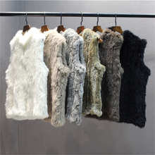 IANLAN New Womens Casual Dense Weaving Fur Vests Fashion Real Knitted Rabbit Waistcoat Ladies Striped Gilets IL00515