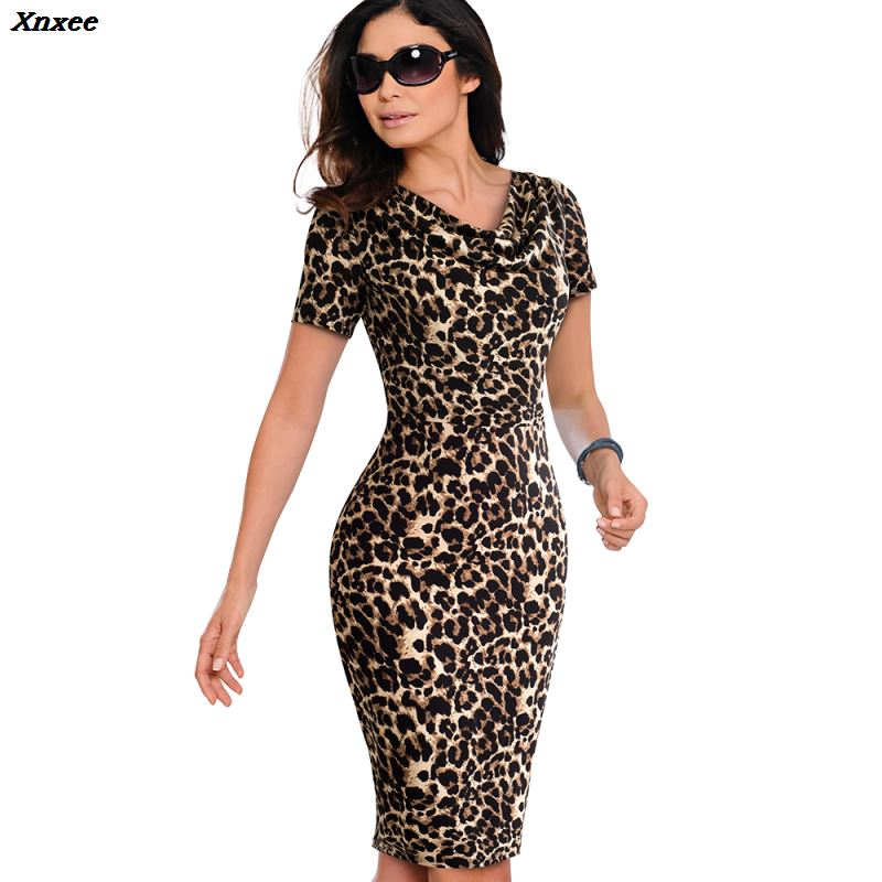 Xnxee Summer Women Vintage Leopard Party Office Dress Sexy Short Sleeve Bodycon Casual Pencil Business