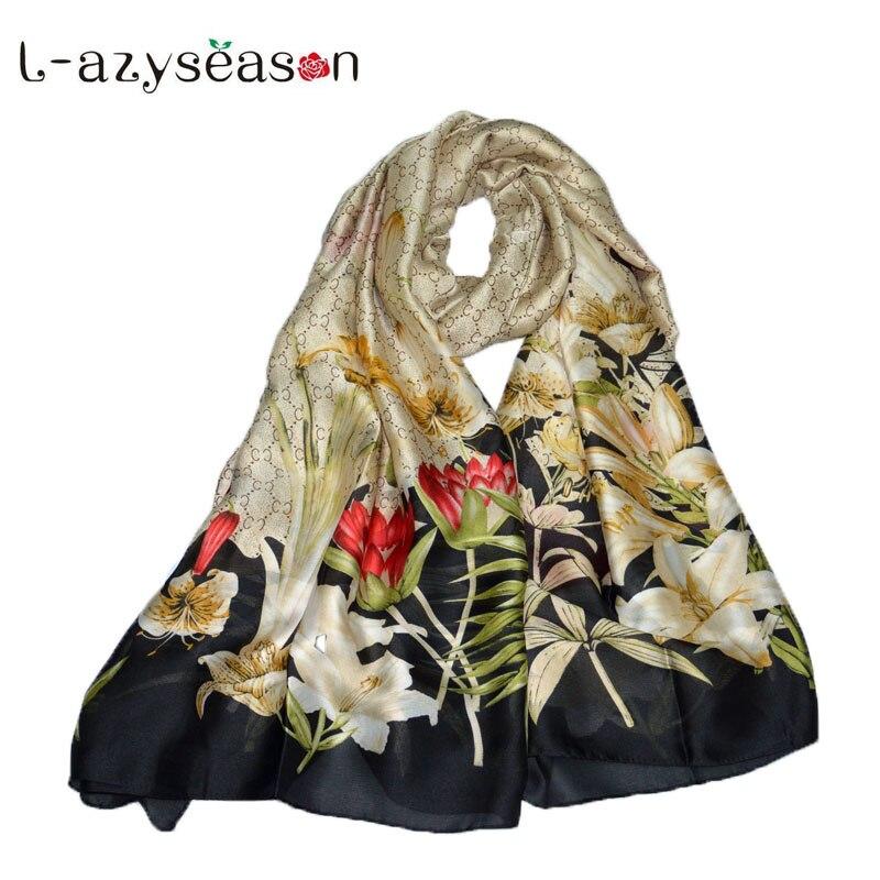 L-azyseason New Summer Silk scarf women long shawls Spring Scarves Female high quality Lady's gift elegant hijab wraps 180X90 CM