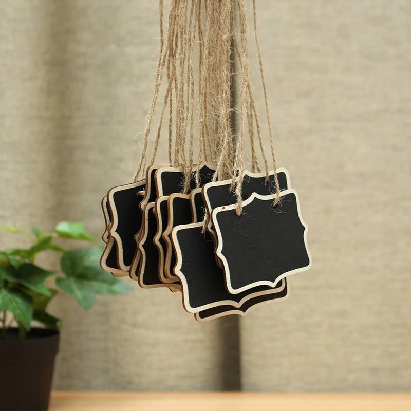 Kicute 10pcs Wood Message Board Mini Blackboard Chalkboard With String Black Notice Board Wedding Home Party Decor Supplies