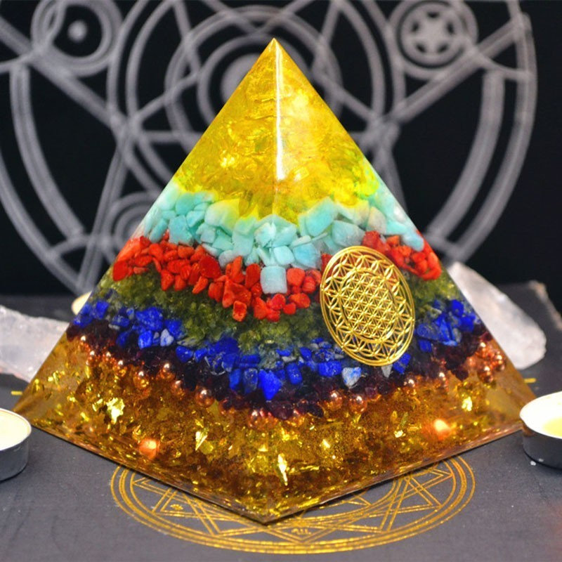 Orgonite Pyramid Reiki FengShui Decoration Handmade Crystal Rune Orgone Energy Converter Resin Decorative Craft Gathering Wealth