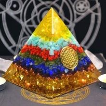 Orgonite Pyramid Reiki FengShui Decoration Handmade Crystal Rune Orgone Energy Converter Resin Decorative Craft Gathering Wealth