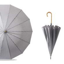 Clear Large Wooden Handle Striped Sunny Umbrella Rain Women Windproof Art Stylish Kids Girl Parasol Anti UV Z507