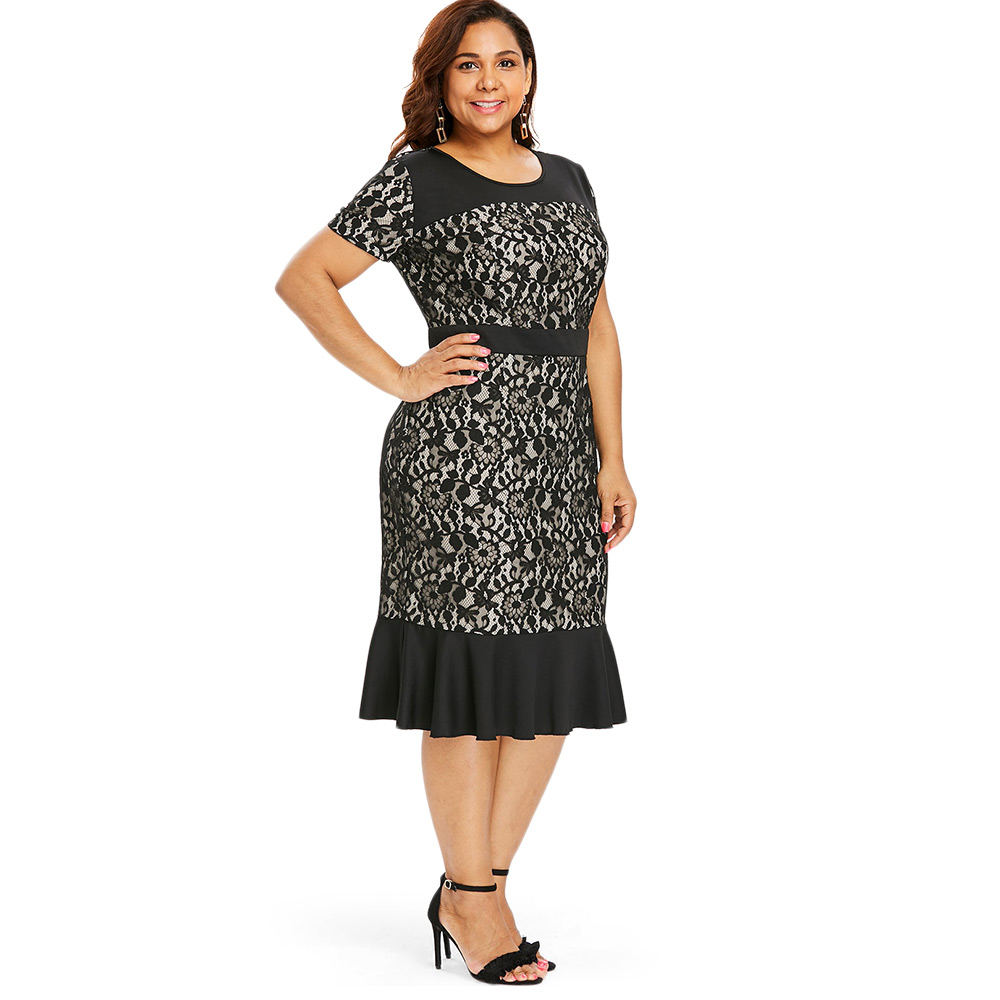 Wipalo Plus Size Lace Panel Mermaid Dress Women Short Sleeve O Neck Sheath Bodycon  Dress Casual Black Lace Office Lady Dresses-in Dresses from Women s ... f94bbc61c952