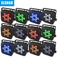12pcs/lot wireless DMX and WIFI control 12 RGBWA UV 6in1 battery powered led slim flat light wifi remote control battery led