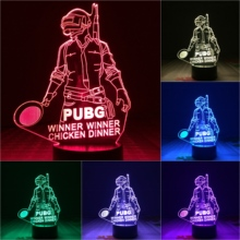 FPS Game Player PUBG Figure 3D Led Night Light Battlegrounds Winner Chicken Dinner Boys Kids Birthday Gifts Desk lamp bedroom