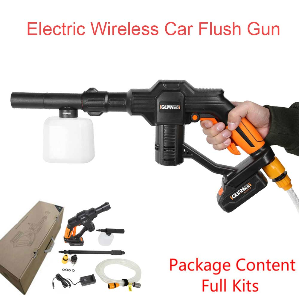 electrical car flush gun washing gun wireless cordless water power cleaner garden washer 5 modes. Black Bedroom Furniture Sets. Home Design Ideas