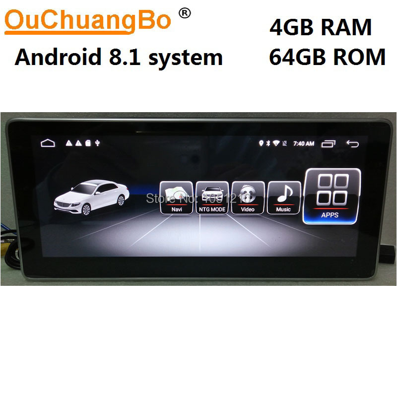 Lecteur multimédia radio gps Ouchuangbo android 8.1 pour Mercedes Benz C 180 200 220 230 260 300 W204 CLK 2008-2014 avec 4 GB + 64 GB