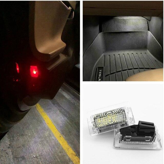울트라 브라이트 화이트 LED (클리어 렌즈) 테슬라 모델 3 S X(2 PCS) 용 고출력 인테리어 라이트 카 도어 램프 웅덩이 트렁크 라이트 키트