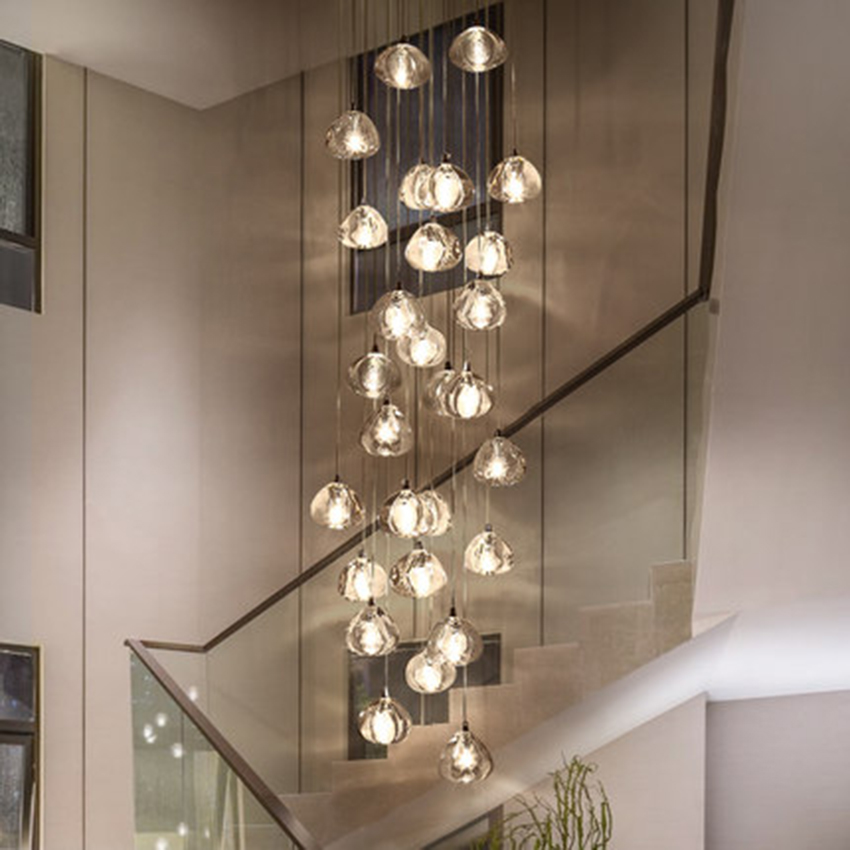 modern led pendant lights crystal pendant lamp compound hall stairwell long living room stair hanging lamp lighting luminaria