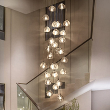 Modern Led Pendant Lights Crystal Lamp Compound Hall Stairwell Long Living Room Stair Hanging Lighting Luminaria