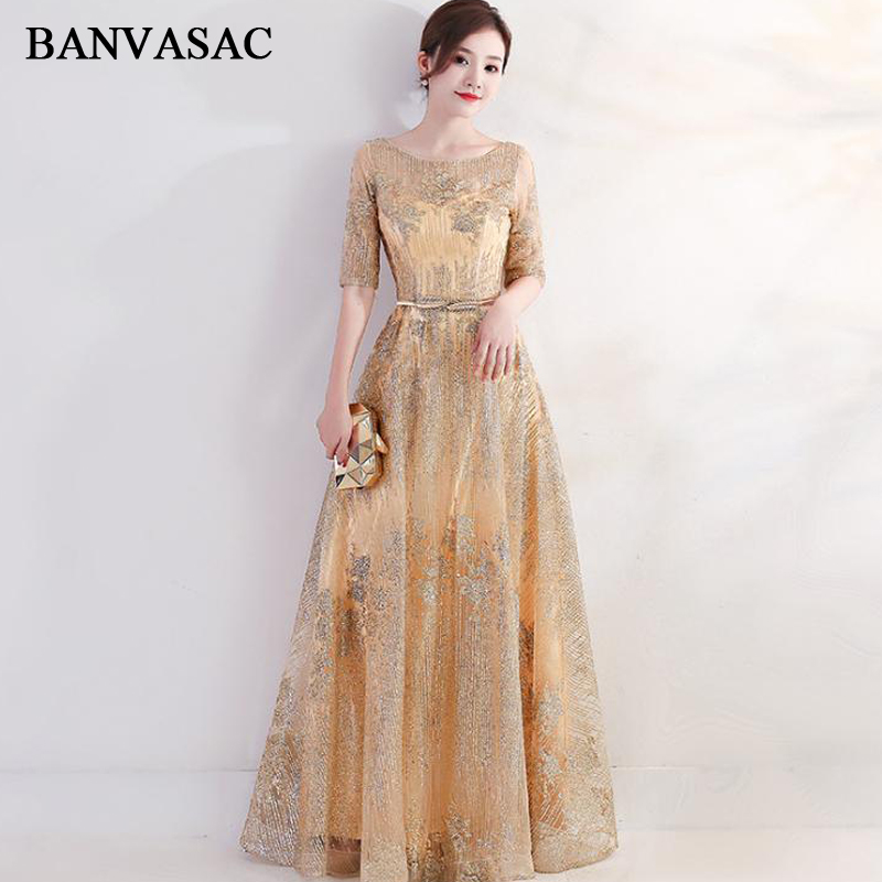 BANVASAC Illusion O Neck Bronzing A Line Long   Evening     Dresses   Party Half Sleeve Metal Leaf Sash Backless Prom Gowns