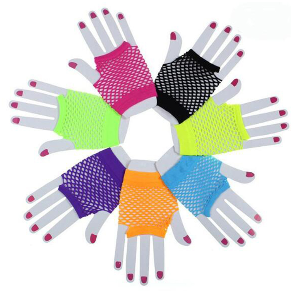 New Women Girls Mesh Gloves Short Wrist Gothic Punk Rock Costume Fancy Party Mesh Fingerless Gloves
